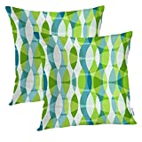 Batmerry Floral Pillow Covers 18x18 Inch Set of 2, Green with Grunge Green Lime Organic Floral Sea Vintage Fern Flower Double Sided Square Pillow Cases Sofa Cushion