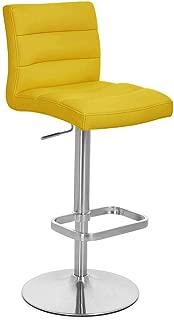 Zuri Furniture Yellow Lush Adjustable Height Swivel Armless Bar Stool