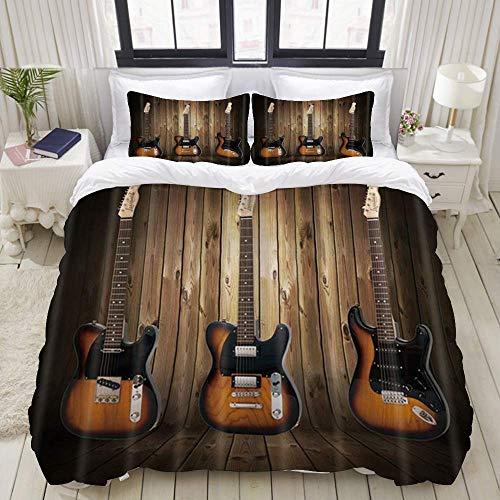 Funda nórdica, Instrumentos Musicales Guitarra sobre Tabla de Madera rústica Occidental, Juego de Cama Juegos de Microfibra de Lujo Ultra cómodos y livianos