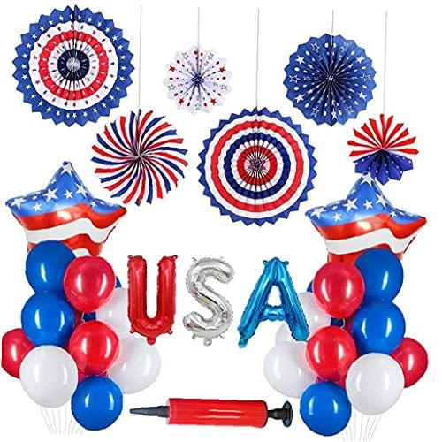 Ruluti 23pcs Americana Día de la Independencia de Vacaciones Decoración USA Aluminio cinematográfico Globo de Cinco Puntas de la Estrella de la Bandera de la Fiesta de la decoración