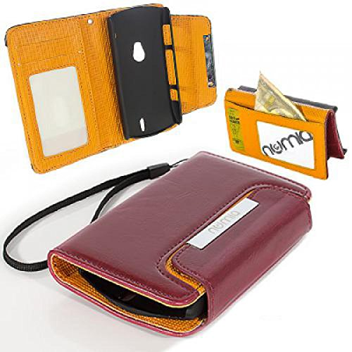 Sony Ericsson Xperia Neo Hülle, numia Handyhülle Handy Schutzhülle [Book-Style Handytasche mit Standfunktion & Kartenfach] Pu Leder Tasche für Sony Ericsson Xperia Neo V Hülle Cover [Dunkelrot-Orange]