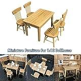 Luccase 5 Stücke Mini Tisch Stuhl Kit 1:12 Kinder Puppenhaus Komponente Miniatur Möbel Holz Esstisch Stuhl Modell Set Spielzeug für Jungen und Mädchen