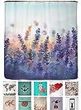 arteneur® - Lavendel - Anti-Schimmel Duschvorhang 180x200 mit Öko-Tex Standard 100 - Beschwerter Saum, Blickdicht, Wasserdicht, Waschbar, 12 Ringe und E-Book