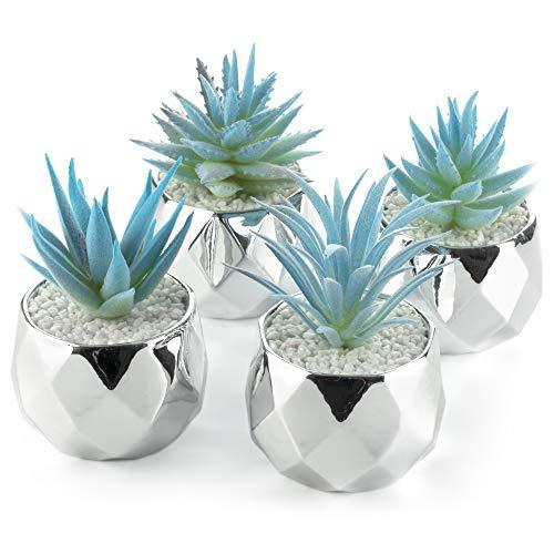 4 Künstliche Sukkulenten Blau Pflanzen Silber Keramik Töpfe für Home Decor – 5,1 cm Mini Pflanzgefäße – Innen & Außen – Wohnzimmer Küche Bad Büro Schreibtisch Schlafzimmer