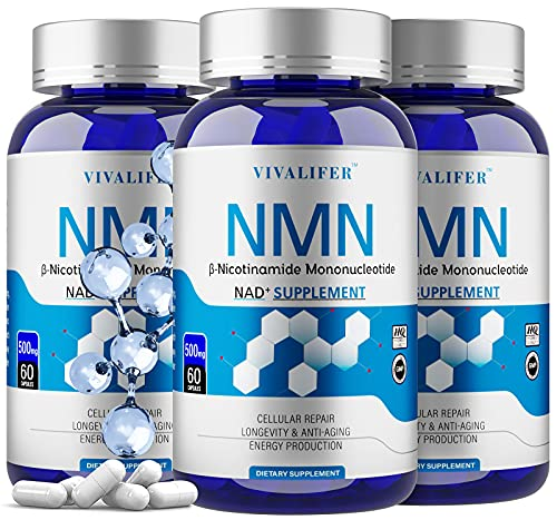 3 Pack NMN Supplement, 500MG Powerful Nicotinamide Mononucleotide Capsules for Supports Anti-Aging & Antioxidant, Longevity and Energy, Naturally Boost NAD+ Levels (NMN 60PCS)