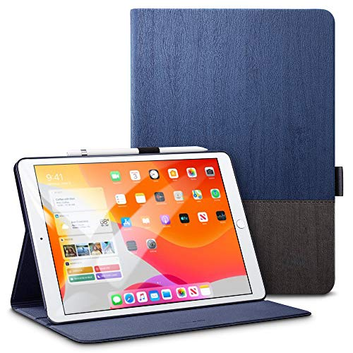 ESRiPad10.2ケース第7世代2019モデル専用PUレザー手帳型[オートスリープ/ウェイク][ペンシルホルダー付き][ブックカバーデザイン][角度調節可能な鑑賞スタンド]アーバンプレミアム二つ折りスタンドiPad10.2インチ2019専用カバー(灰紺色)