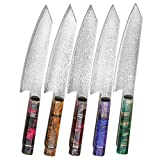 Damascus Chef Knife Kiritsuke Hajegato Unique One Of Kind Handle Professional 8 Inch Japanese Chefs Kitchen Knife Vg10 High Quality 67 Layers Damascus Steel Knive with Sheath