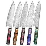 Hajegato Cuchillo de Chef Damasco Mango Profesional único, Cuchillo de Cocina japonés Vg10, 67 Capas de Acero de Damasco con Funda (Kiritsuke Knife - 20 Cm)
