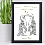 Kissing Penguins Personalised Birthday Christmas Gifts for Couples Her Him Husband Wife Girlfriend Boyfriend Animal Couples Penguin Couple Presents - PERSONALISED with ANY 2 NAMES