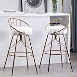 Awonde 24' Swivel Bar Stools with Back Set of 2 White Faux Fur Gold Metal Counter Height Chairs