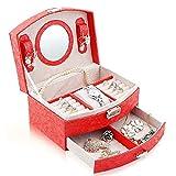 KAMELUN Multifunktionale Box, PU Schmuck Box 2 Tier-Aufbewahrungsbehälter mit Abnehmbarer Schublade Travel Box mit Spiegel auf Deckel Kunstleder Schmuck Geschenk-Box,Rot