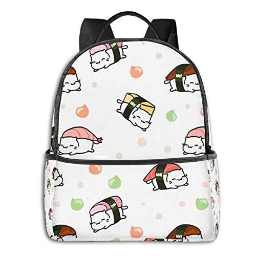 Cat Japanese Best Sushi White Roller CuteSide Themed Casual Shoulders Backpack Travel Mini Bookbag Book Back School Bag for Girls Boy Women Men merchandise