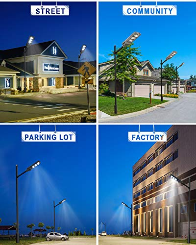 6000LM Solar LED Street Lights Outdoor, 2Pack Solar Powered Street Lamp Dusk to Dawn with Motion Sensor for Yard, Driveway, ST60-010-2