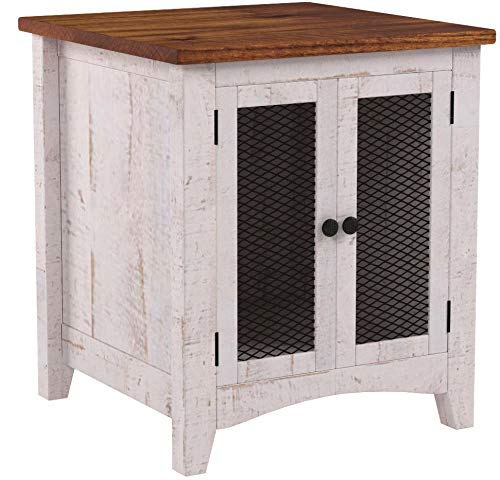 Burleson Home Furnishings Anton Quality Solid Wood Distressed White End Table with Doors - Side Table Has Storage Behind Mesh Doors and Arrives Fully Assembled