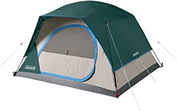 Coleman Skydome 6 Person Weathertec Easy Assembly Outdoor Family Camping Hiking Dome Tent, Evergreen