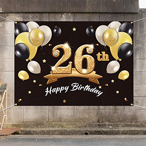 PAKBOOM Happy 26th Birthday Banner Backdrop - 26 Birthday Party Decorations Supplies for Men Him - Black Gold 4 x 6ft