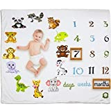 Baby Monthly Milestone Blanket 40x60 Unisex Boy or Girl | Neutral Reusable Photography Prop Background | Colorful Baby Shower Gift | Newborn to 12 Months | with Free Wreath and Felt Frame