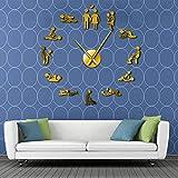 HFWYF 47 Pouces sans Cadre baccalauréat Jeu Kama Sutra Bricolage Chambre Adulte décoration géante Horloge Murale Emplacement Grande Horloge Murale Art