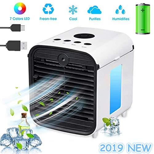 Nifogo Air Mini Cooler Aire Acondicionado Portátil, 3 en 1 Climatizador Evaporativo Frio Ventilador Humidificador Purificador de Aire, Leakproof, Nuevo Filtros (y- White,Rechargable)