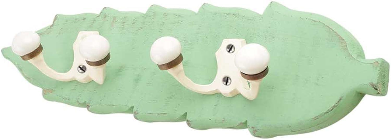 IndianShelf Handmade 3 Piece Wooden Green Cream Double Loop Ceramic Iron Wooden Antique Look Wall Hanging Key Hooks Cloth Coats Hangers Key Holders