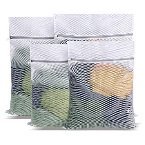 PRETTYGAGA Large Net Washing Bag Durable Honeycomb Mesh Laundry Bag with Zip Closure for Clothes (set of 4 (2L+2XL))