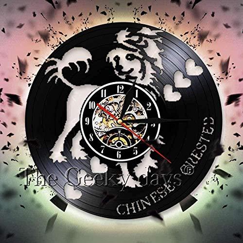 Chinesische Wanduhr für Hunde, Silhouette Schatten Vinyl, modernes Design, Wanduhr, Hund, Welpe, Wanddekoration für Kinderzimmer
