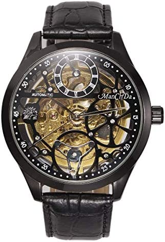 Wrist Watch Skeleton Dial Mechanical Mens Watch See Through Waterproof 47MM XL Automatic Analog Leather Band Strap