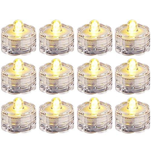 com-four® 12x Wasserdichtes LED Teelicht - LED Lampe in gelb für Badewanne, Pool und Teich - LED Stimmungslicht für Party und Hochzeit (0012 Stück - Blütenform)