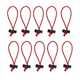 Foto&Tech Multipurpose Extra Thick Elastic Cable Tie and Organizer, Adjustable Cable Strap Toggle Tie, Reusable Tangle Tamer, Cable Management for Cord and Cable (10x 16CM, Red)