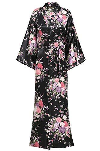 ArtiDeco Kimono Floral Largo Bata Novia Kimono de Seda 1920s Ropa de Dormir Despedida de Soletera Túnica Larga 53 '