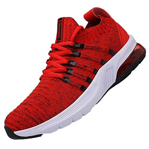 AARDIMI Herren Damen Sportschuhe Laufschuhe mit Luftpolster Turnschuhe Straßenlaufschuhe Sneaker Outdoor Fitness Gym Walkingschuhe Leichte Schuhe (Rot, Numeric_36)