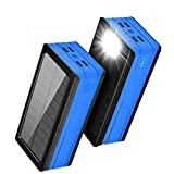 Solar Power Bank 50000mAH, Rainproof Portable Power Pharger with 4 Output & Dual Inputs & Flashlight, Solar Panel Phone Charger for Outdoor Camping