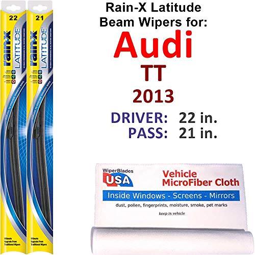 Rain-X Latitude Beam Wiper Blades for 2013 Audi TT Set Rain-X Latitude Beam Blades Wipers Set Bundled with MicroFiber Interior Car Cloth