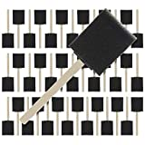 US Art Supply 2 inch Foam Sponge Wood Handle Paint Brush Set (Super Value Pack of 40) - Lightweight, Durable...