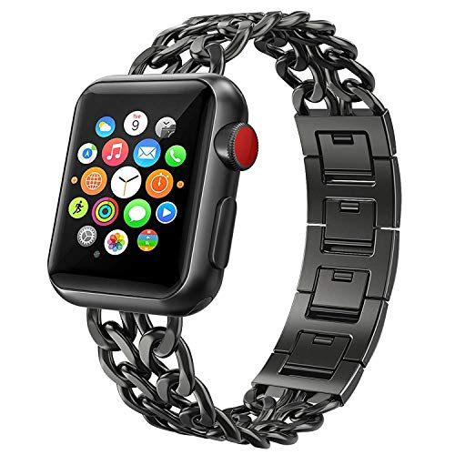 Estuyoya - Pulsera Esclava de Acero Inoxidable Compatible con Apple Watch Diseño Cadenas Cierre de Seguridad Ajustable Elegante para 42mm/44mm iWatch Series 6/5 / 4/3 / 2/1 / SE/Nike+ - Negro