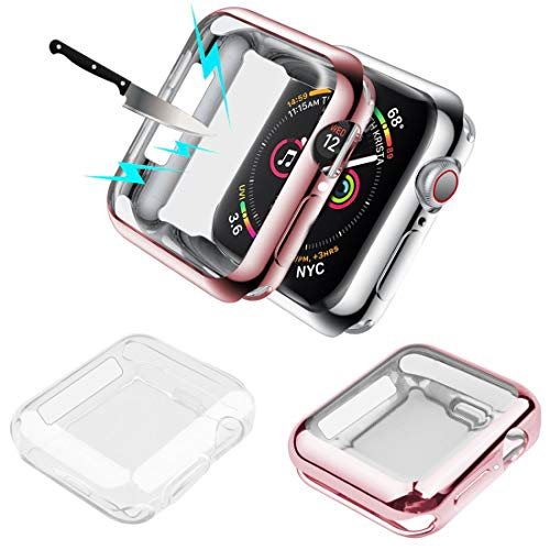 Wolait Compatible with Apple Watch Screen Protector 44mm, iwatch SE/Series 6/5/4 [2-Pack] All-Around Clear TPU Protective Case Cover,Clear+ Rose Gold