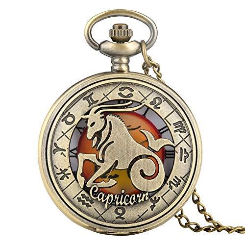 WOAIXI Reloj De Bolsillo Vintage,Retro Zodiac Patrón Reloj De Bolsillo Moderno Collar Cadena De Cobre Doce Constelación Capricornio Colgante Reloj De Cumpleaños para Los Hombres Mujeres Regalos