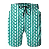 Men's Big and Tall Swim Trunks Beachwear Drawstring Summer Holiday,Simplistic Silhouette Seahorse Shapes In Repeat Tropical Aquarium Theme,3D Print Shorts Pants,XX-Large