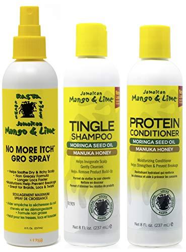 Jamacican Mango & Lime No More Itch Grow Spray 8oz with Tingle Shampoo 8oz & Protein Conditioner 8oz