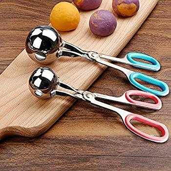Meat Baller 2 PCS None-Stick Meatball Maker with Detachable Anti-Slip Handles Stainless Steel Meat Baller Tongs Cake Pop Ice Tongs Cookie Dough Scoop for Kitchen  1.38 &1.78