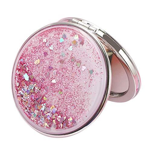Hellery Taschenspiegel mit Glitzer beidseitiger Spiegel Kosmetikspiegel für Damen Mädchen - Pink, Rund