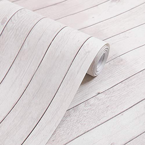 HEBE Wood Wallpaper 17.71' X 393' Self-Adhesive Removable Wood Peel and Stick Wallpaper Decorative Wall Covering Vintage Wood Panel Interior Film
