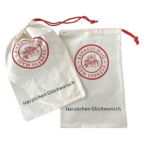 2X Geschenksäckchen | 30x20cm | Glückwunschbeutel | wiederverwendbar | Geburtstagsgeschenk | Stofftasche | Baumwollbeutel | Geschenkbeutel | Geschenkverpackung | Faire Verpackung | Glückwunsch | |