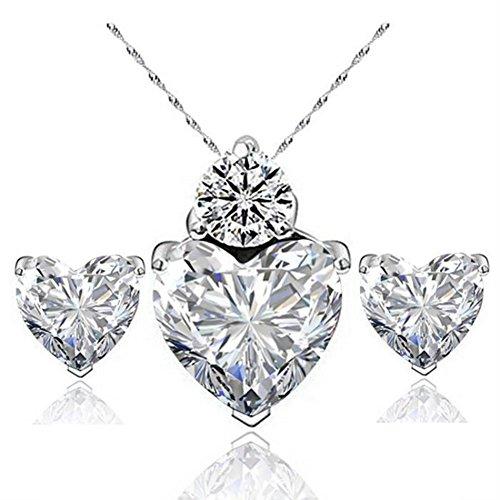 Demarkt - Juego de collar y pendientes para mujer, diseño de corazón, color blanco