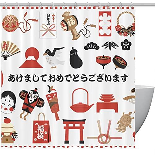 Duschvorhang, japanisches Neujahr, grafische Elemente für Badezimmer
