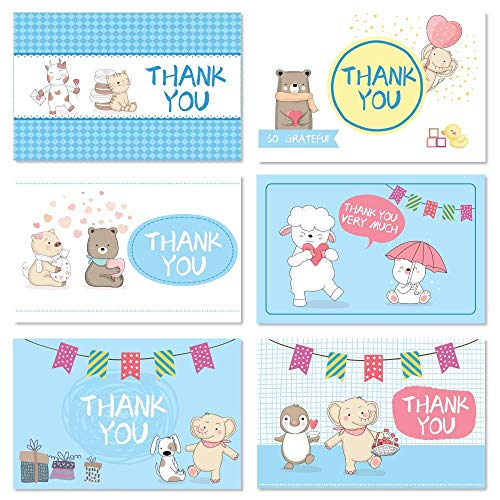 Baby Shower Thank You Cards, 48 Thank You Cards with Envelopes & Stickers Blue Elephant Animal Varied Gratitude Card for Your Kids Birthday, Baby Shower, Birthday Party, Wedding, Greetings