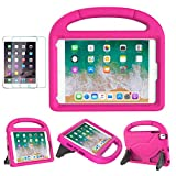 MOXOTEK Kids Case for iPad Mini 5/4/3/2/1, Durable Shockproof Protective Handle Stand Bumper Cover with Screen Protector for Apple 7.9-inch iPad Mini 5th(2019) 4th 3rd 2nd 1st Generation, Pink