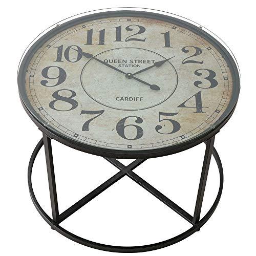 etc-shop Couchtisch Vintage Wohnzimmertisch Retro Beistelltisch, Analoge Uhr, Eisen Glas schwarz, DxH 80 x 56 cm, Wohnzimmer