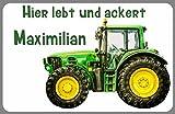 Türschild Namensschild Traktor Trecker Schlepper mit Wunschname für die Kinderzimmertür statt...