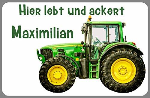 Türschild Namensschild Traktor Trecker Schlepper mit Wunschname für die Kinderzimmertür statt Holzbuchstaben